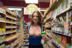 Playful brunette chick in a blue vest an - XXX Dessert - Picture 8
