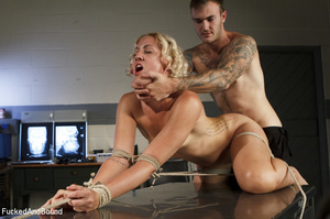 Blonde vixen with roped hands and legs g - XXX Dessert - Picture 4