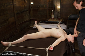 Hogtied ponytailed brunette gets asspoun - XXX Dessert - Picture 1