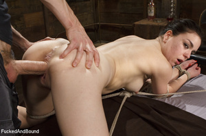 Hogtied ponytailed brunette gets asspoun - XXX Dessert - Picture 4
