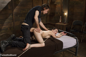 Hogtied ponytailed brunette gets asspoun - XXX Dessert - Picture 5