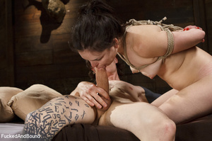 Hogtied ponytailed brunette gets asspoun - XXX Dessert - Picture 13