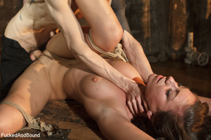 Brunette babe with a gag-ball gets bound - XXX Dessert - Picture 6
