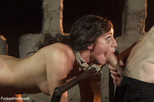 Brunette babe with a gag-ball gets bound - XXX Dessert - Picture 15
