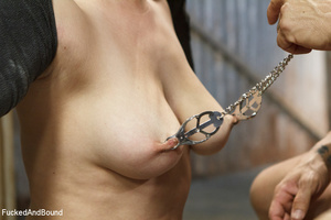 Busty brunette chick gets tortured with  - XXX Dessert - Picture 5
