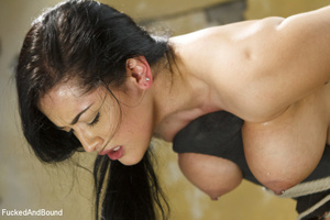 Hot brunette gets her big juggs bound in - XXX Dessert - Picture 9