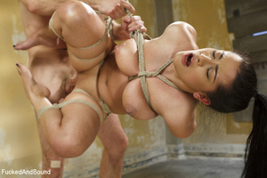 Hot brunette gets her big juggs bound in - XXX Dessert - Picture 10