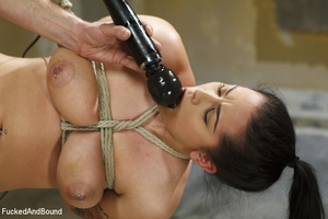 Hot brunette gets her big juggs bound in - XXX Dessert - Picture 12
