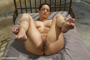 Hot brunette gets her big juggs bound in - XXX Dessert - Picture 13