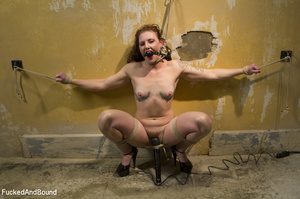 Curly chick in bondage gets her red cunt - XXX Dessert - Picture 1
