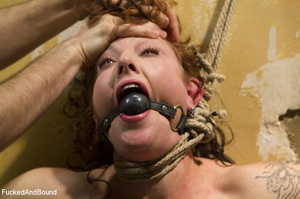 Curly chick in bondage gets her red cunt - XXX Dessert - Picture 3
