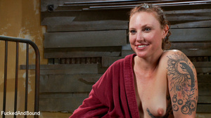 Curly chick in bondage gets her red cunt - XXX Dessert - Picture 14