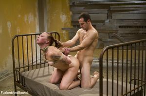 Curly chick in bondage gets her red cunt - XXX Dessert - Picture 15