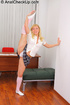 Flexible blonde teen in white long socks and uniform takes facial cumshot