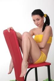 brunette teen teaser yellow