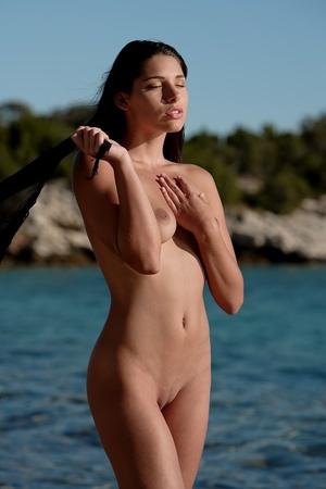 Pretty nude damsel wrapped in black clot - XXX Dessert - Picture 11