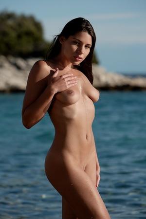 Pretty nude damsel wrapped in black clot - XXX Dessert - Picture 13