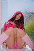 with her pink hoodie