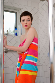 short haired lady towels