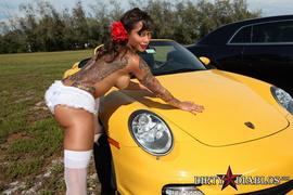 car, hardcore, panties, white