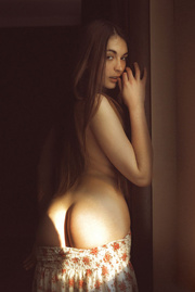 small-titted brunette posing floral