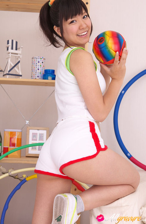 Trick takes off her white athletic wear and poses in her underwear. - XXXonXXX - Pic 1