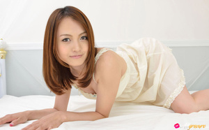 Cutie in a white nightie and panties poses on white sheets. - XXXonXXX - Pic 2