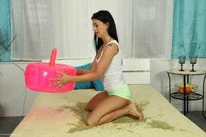 Enthralling firecracker in green panties plays with a pink toy ride. - XXXonXXX - Pic 8