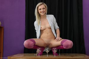 Captivating mare in pink nylons pisses in three wine glasses. - XXXonXXX - Pic 2