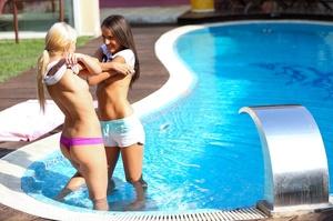 Blonde and brunette have lezzie love on  - XXX Dessert - Picture 2
