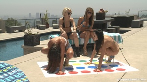 Hot chicks get horny playing Twister on  - XXX Dessert - Picture 1