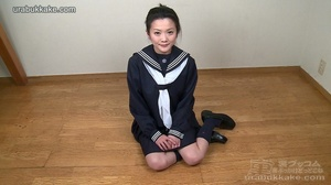 Strumpet dressed in school clothes sits  - XXX Dessert - Picture 1