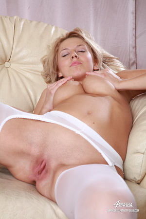 Big-hootered blonde in white stockings s - XXX Dessert - Picture 12