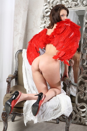 Tart wearing red angel wings poses nude  - XXX Dessert - Picture 7