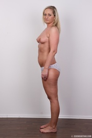 curvy blonde mom with