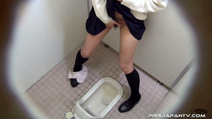 Cute Asian chick in school uniform take a piss then fingers hairy pussy - XXXonXXX - Pic 5