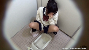 Cute Asian chick in school uniform take a piss then fingers hairy pussy - XXXonXXX - Pic 11