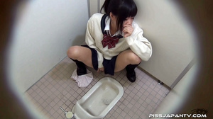 Cute Asian chick in school uniform take a piss then fingers hairy pussy - XXXonXXX - Pic 12