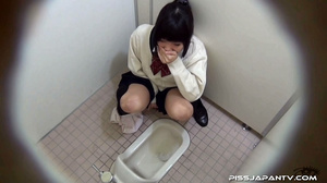 Cute Asian chick in school uniform take a piss then fingers hairy pussy - XXXonXXX - Pic 13