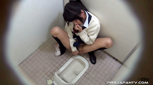 Cute Asian chick in school uniform take a piss then fingers hairy pussy - XXXonXXX - Pic 14