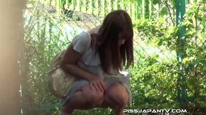 Asian beauty in stripped top and babe in short skirt bend and pee in public - XXXonXXX - Pic 3