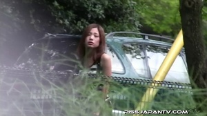 Asian beauty in stripped top and babe in short skirt bend and pee in public - XXXonXXX - Pic 7