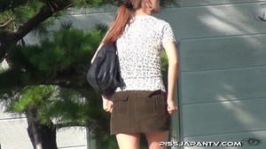 Public pissing action as pressed cute dressed girls just have to let go and pee - XXXonXXX - Pic 9