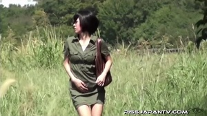 Shy Asian taking a pee gets interrupted before she lets hot pee flow outdoors - XXXonXXX - Pic 1