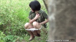 Shy Asian taking a pee gets interrupted before she lets hot pee flow outdoors - XXXonXXX - Pic 7