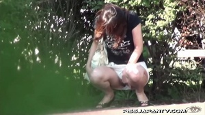 Shy Asian taking a pee gets interrupted before she lets hot pee flow outdoors - XXXonXXX - Pic 9