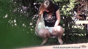 Shy Asian taking a pee gets interrupted before she lets hot pee flow outdoors - XXXonXXX - Pic 10