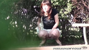 Shy Asian taking a pee gets interrupted before she lets hot pee flow outdoors - XXXonXXX - Pic 14