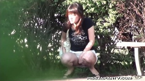 Shy Asian taking a pee gets interrupted before she lets hot pee flow outdoors - XXXonXXX - Pic 15