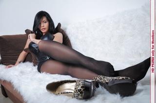 sweet brunette black leather